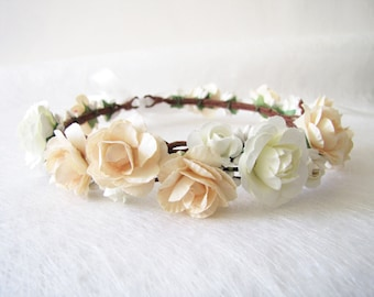 Champagne Color Wedding Floral Crown 4817f120161