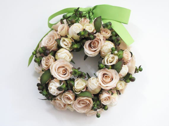 Champagne Color Roses Wreath Champagne Color Artificial Etsy - Which-artificial-flower-colors-are-good-for-a-home