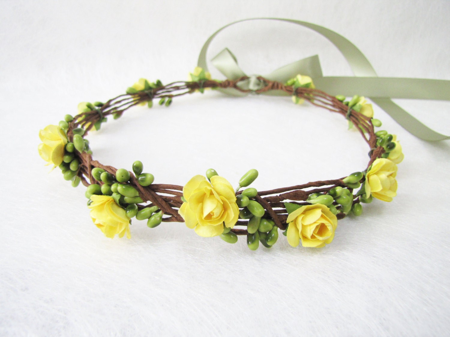 Wedding Floral Crown Yellow Flower Headband Floral Head Etsy