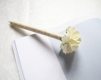 Flower pen set etsy set of 2 4 wedding guest book pens burlap pen ivory paper flower mightylinksfo