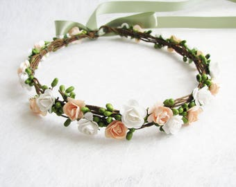 Peach Floral Crown, Two Flower Color Headband, White Floral Crown, Wedding Headband, Bridesmaid Flower Crown, Flower Girls Headband