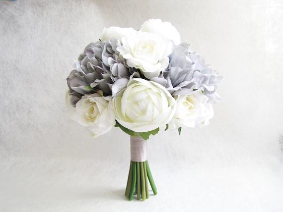 Brautstrauss Weisse Pfingstrosen Brautjungfer Bouquet Grau Etsy