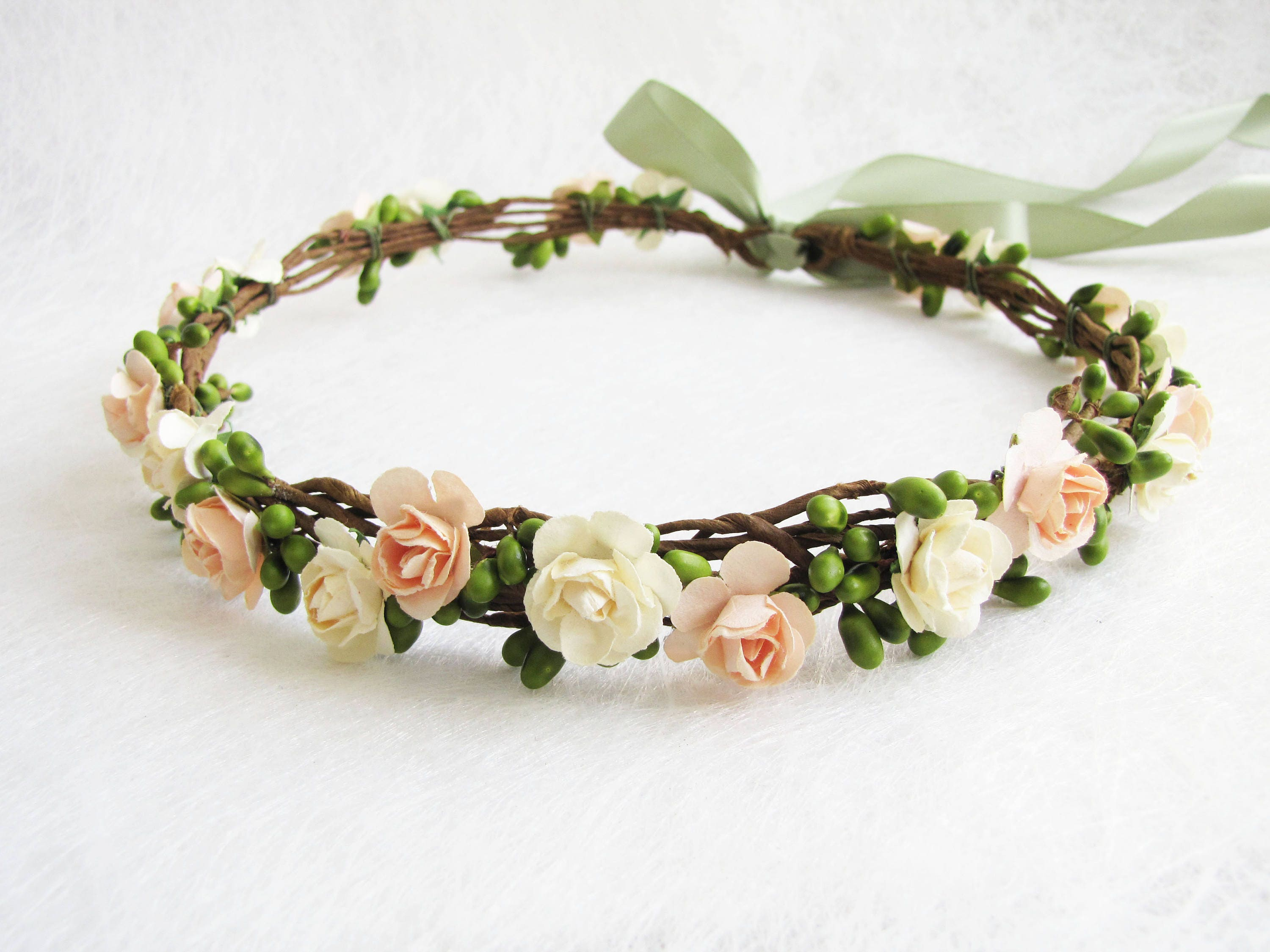 Peach Floral Crown Two Flower Color Headband Ivory Floral  958f465d40f