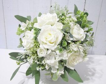 White Roses Bridal Bouquet, Bridesmaid Bouquet, Eucalyptus Wedding Bouquet, Wedding Bouquet, White Floral Bouquet, Rustic Wedding Bouquet
