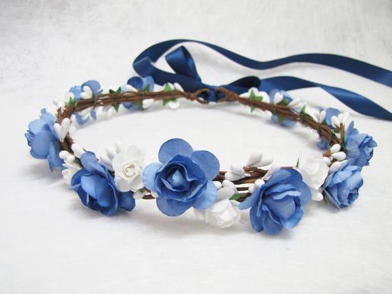 Wedding Floral Crown Navy Blue Flower Headband Floral Head  38543175a3b
