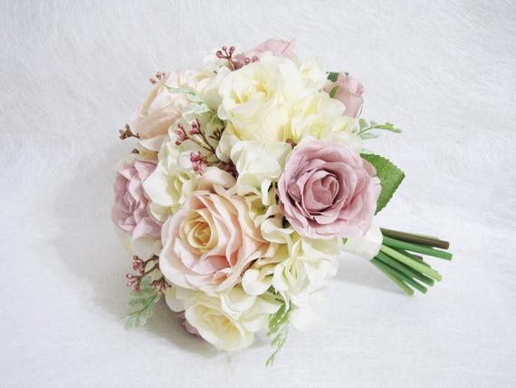 Blush Roses Wedding Bouquet Blush Color Floral Bouquet Blush Etsy