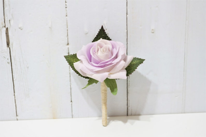 Real Touch Light Purple Corsage  Boutonniere Real Touch Flower Purple Wedding Color Thistle Buttonhole Real Touch Rose Boutonniere