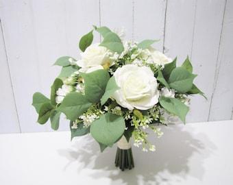 White Roses Bridal Bouquet, Bridesmaid Bouquet, Baby's Breath Wedding Bouquet, Wedding Bouquet, Floral Bouquet, Rustic Wedding Bouquet