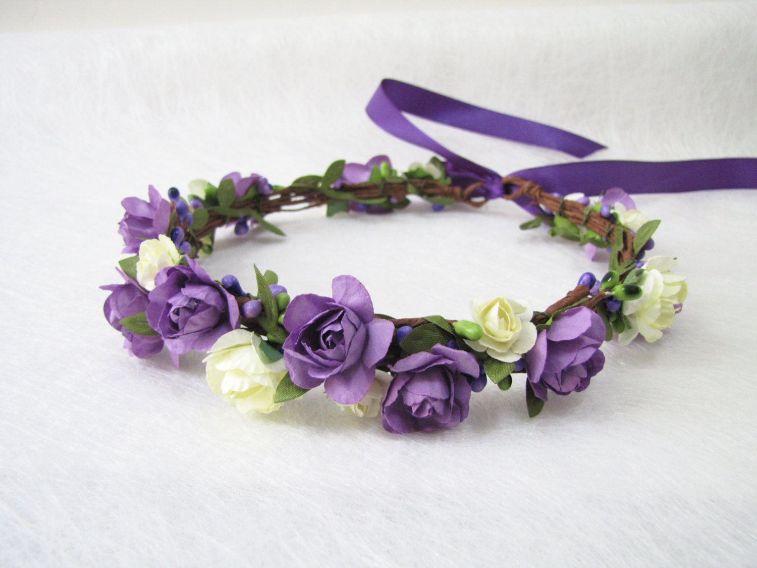 Wedding Floral Crown Ivory Purple Flower Headband Floral Etsy