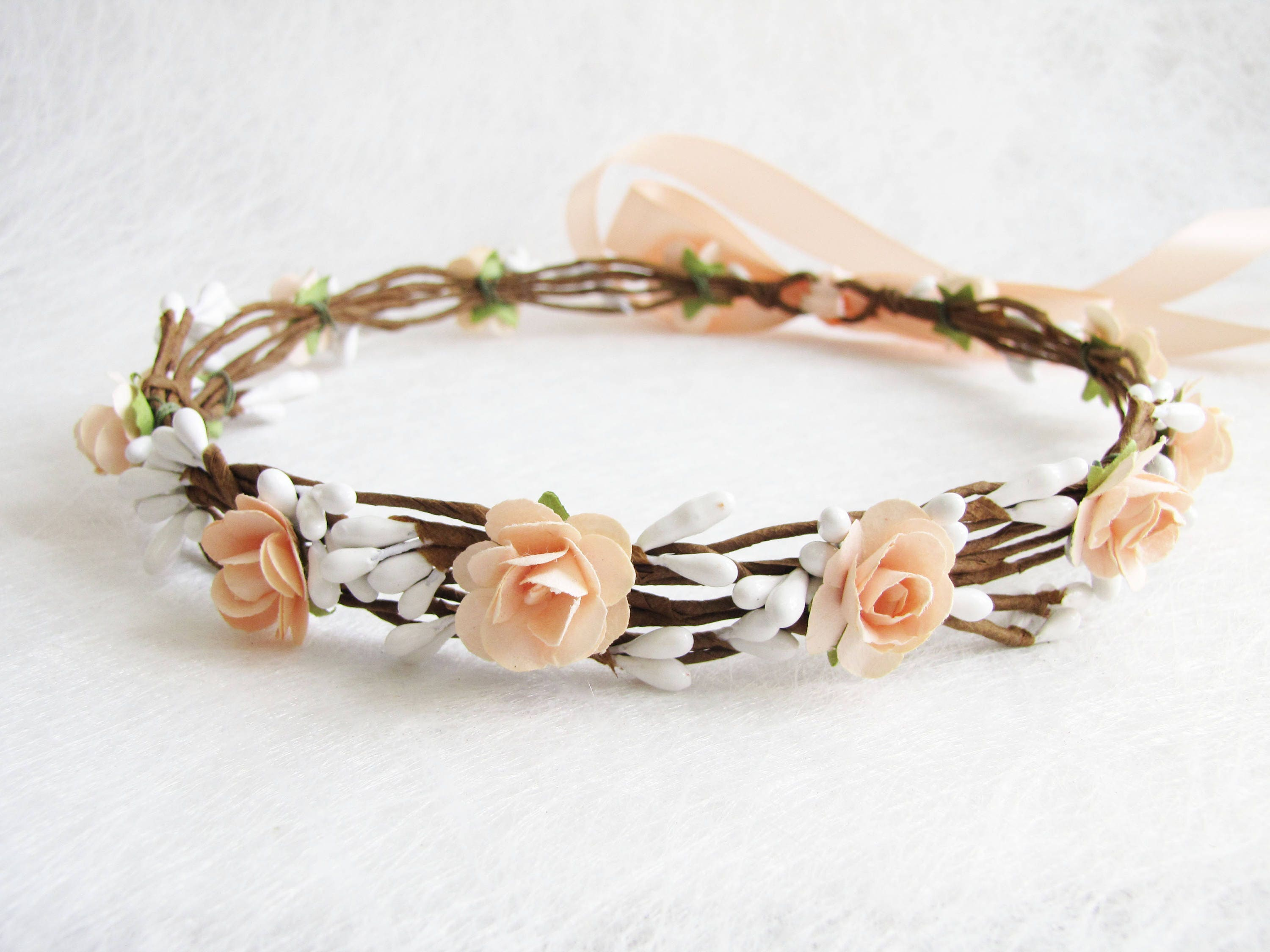 Wedding Floral Crown Peach Flower Headband Floral Head  d6ff81e6c68