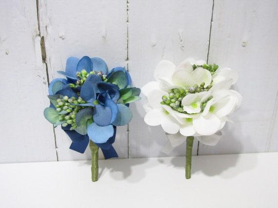 Light Blue Hydrangea Corsage Light Blue Hydrangea Corsage Hydrangea Wedding White Baby/'s Breath Flower Boutonnieres Wedding Boutonniere