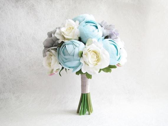 Baby Blau Pfingstrosen Brautstrauss Trauzeugin Bouquet Etsy