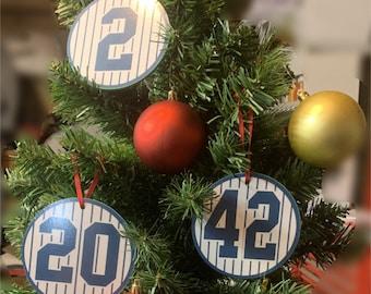 Baseball teams vinyl ornaments secret Santa Christmas ornaments sports teams gifts stocking stuffers New York Yankees