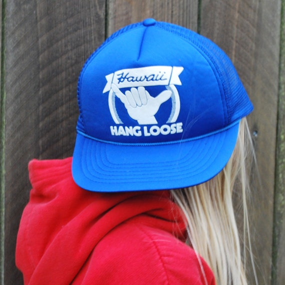Vintage Truckers Hat Hang Loose Hawaii Hat Blue one Size Fits  79da3acb54c