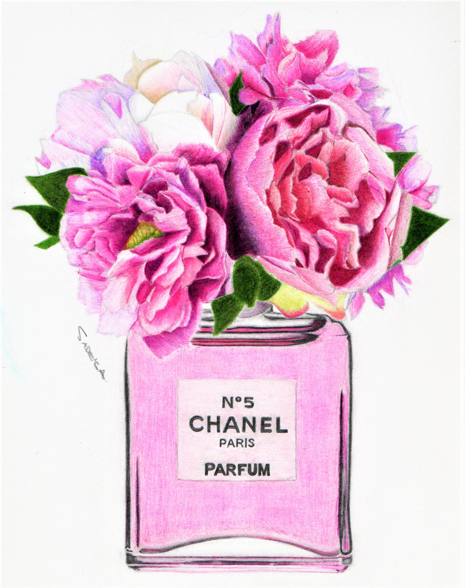 Perfume bottle with flowers peony pink drawing etsy zoom mightylinksfo