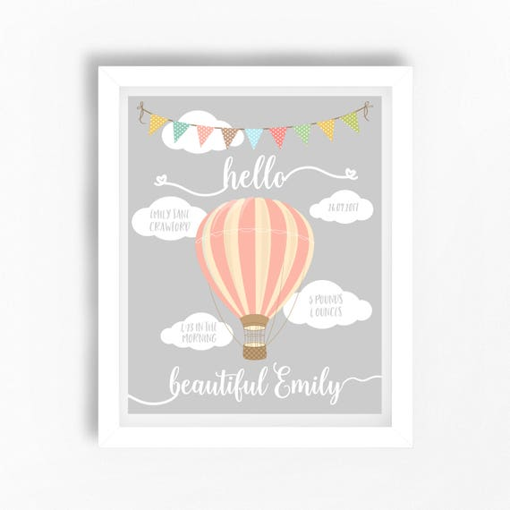 Personalised Print Hot Air Balloon *New Baby Gift Idea Christening Baptism
