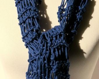 Blue Hand Knit Scarf - Summer Scarf - Drop Stitch Scarf - Lightweight Scarf - Royal Blue Scarf - Blue Vegan Scarf -Blue Cotton Scarf