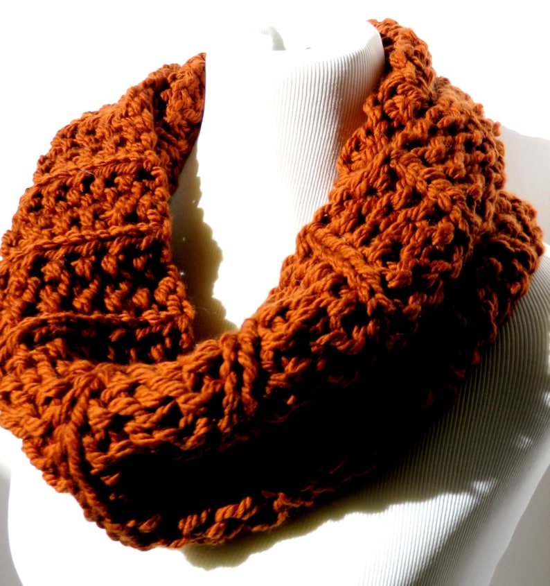 super chunky scarf snood infinity scarf hand crafted crochet brown coffee gift