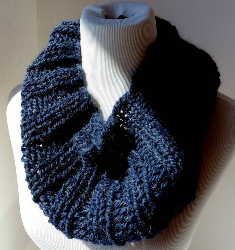 f73ec791c68 Navy Knit Infinity Scarf Big Chunky Warm Handknit Snood Oversized Scarf  Womens Snood Chunky Knit Cowl Alpaca Oversized Circle Scarf Handmade