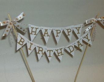 Happy Birthday Cake Topper,  Birthday Cake Topper, Happy Birthday Cake Topper, Birthday Greeting, Mini Birthday Banner