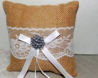 Ring Bearer's Pillow, Wedding Ring Pillow, Burlap Pillow, Wedding, Ring Pillow, Wedding Decor, Wedding Car Pillow