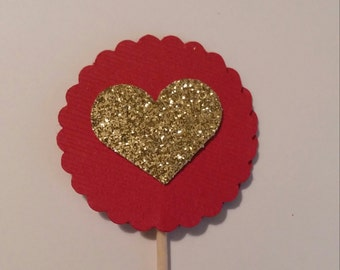 Heart Cup Cake Topper, Birthday Topper, Baby Toppers, Bridal Shower Toppers, Cup Cake Topper, Valentine Cup Cake Toppers