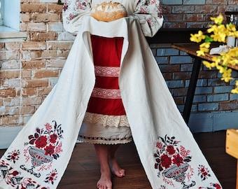 Vintage Ukraine Ancient Towel Handmade Embroidery Vyshyvanka