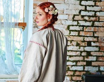 Vintage Ukraine Ancient Vyshyvanka Dress Boho Handmade Embroidery