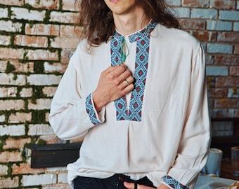 Vintage Ukraine Ancient Vyshyvanka Shirt Boho Handmade Embroidery Men