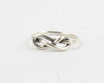 Handmade Solid Silver 925 1.5mm Single Band Infinity Ring