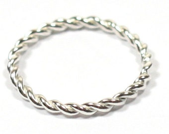 Handmade Solid Silver 925 Spiral Stacking Ring