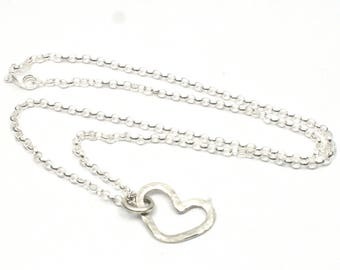 Handmade Solid Silver Hammered Heart Necklace