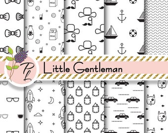 Little Gentleman digital paper. Black and white scandinavian boy seamless backgrounds. Bow tie, dog paper, milk, car, sunglasses and boats.