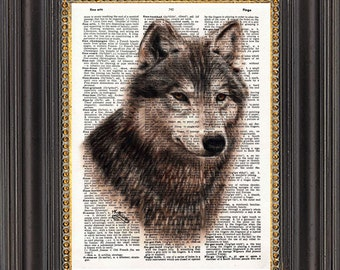 Wolf Wall Art, Oil Painting Print on Antique Dictionary Paper, Wolf Art Print on Vintage Dictionary Page, Wolf Illustration, Wolf Wall Decor
