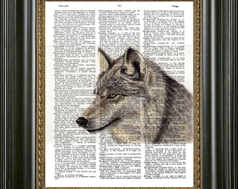 Wolf Wall Art, Wolf Painting  Print on Antique Dictionary Paper, Wolf Art on Vintage Dictionary Page, Vintage Dictionary Wolf Art Print,