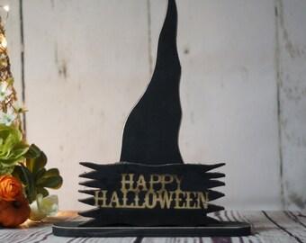 Rustic Halloween Witch Hat Shelf Sitter, Primitive Halloween Decor, Rustic Reclaimed Wood, Rustic Halloween, Fall Decor, Happy Halloween