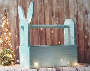 Blue Easter Bunny Basket, Reclaimed Wood
