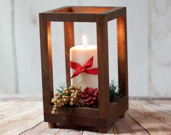 Rustic Wood Candle Lantern