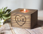 Personalized Hand Burned Candle Holder, Rustic Home Decor, Custom Engagement Gift, Reclaimed Wood initials, Anniversary Gift for her Couple