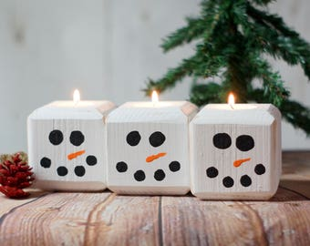 Wood Snowman Candle, Holiday Candles,  Reclaimed Wood, Rustic Christmas Decoration, Primitive Christmas Decor, Christmas Mantle, Table Decor