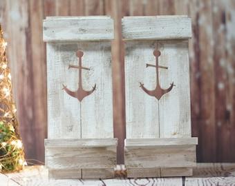 Rustic White Wooden Anchor Sconce Set, Beach House Nautical Decor, Coastal Ocean Wall Decoration, Seaside Travel, Boho Chic, Beach Cottage