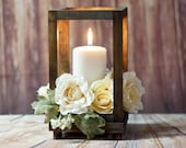 Reclaimed Wood Candle Lantern Centerpiece, Rustic Wedding Table Decoration, Farmhouse Decor, Wooden Candle Holder, Country Barn wedding Gift