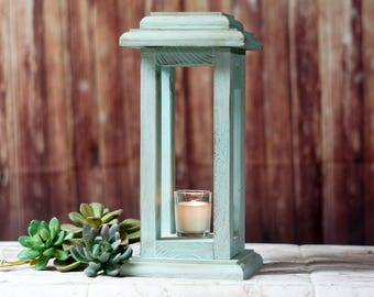 Aqua Blue Wood Candle Lantern