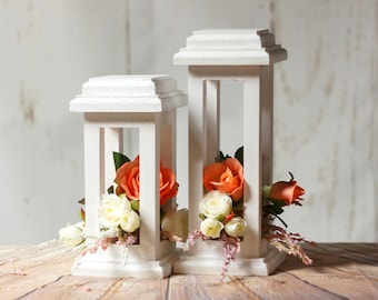White Wedding Lantern Centerpiece