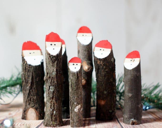 Featured listing image: Log Santas, Primitive Christmas Decorations, Wooden Santa, Rustic Christmas Decor, Christmas Mantle, Christmas Gift, Santa Decor, Log Slice