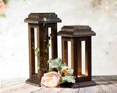 Reclaimed Wood Lanterns, Rustic Thanksgiving Decor, Rustic lantern, Wooden lantern, Thanksgiving Table, Rustic Home Decor, Wood Lantern set