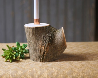 Wood and Copper Candle Holder, Rustic Home Decor, Reclaimed Wood, Tapered Candle holder, Rustic candle Holder, Gift for him, under 25, gft
