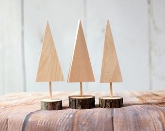 DIY Christmas Tree set of 3, Kids Christmas DIY,  Kids Painting Project, DIY Christmas Decor, Mini Wooden Trees, Unfinished Wood, Log Slice