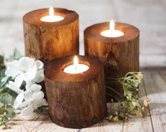 Excellent Log Candle Holder Etsy Interior Design Ideas Gentotryabchikinfo
