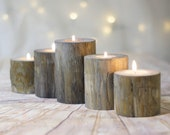Set of 5, Gray Log Candle Holders, Farmhouse Table Centerpiece, Mantle Candle Set, Wedding Centerpiece, Natural Eco Gift Hostess ideas